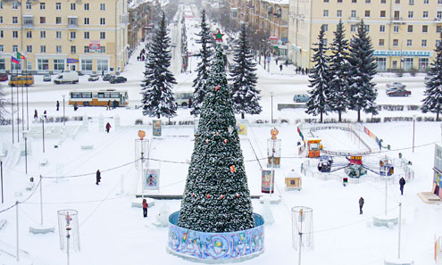Так выглядел Новогодний городок на площади Победы прошлой зимой