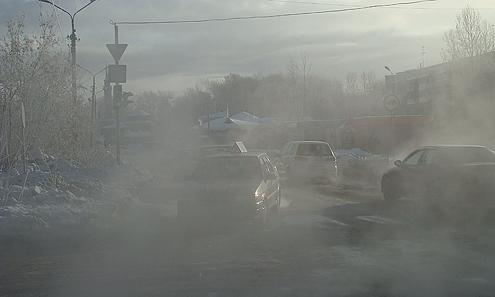На перекрестке улиц Трубников-Гагарина видимость была близка к нулевой