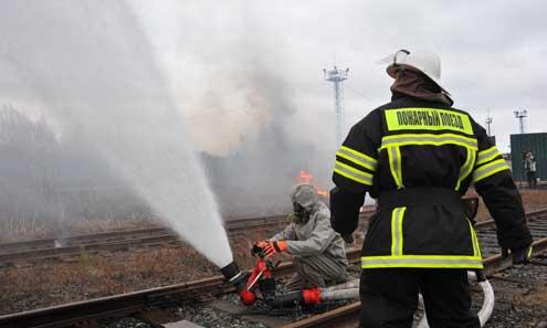 """Пожарный поезд со станции Кузино прибыл на место """"аварии"""" спустя два часа"""