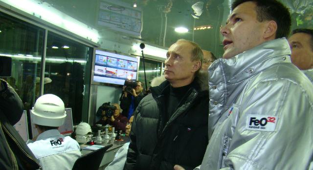 Алексей Дронов и Владимир Путин на открытии ЭСПК в 2010 году.
