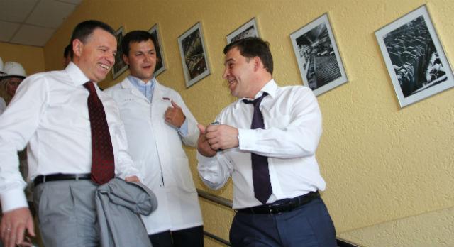 Андрей Комаров, Алексей Дронов и губернатор Евгений Куйвашев на Дне металлурга в 2012 году.