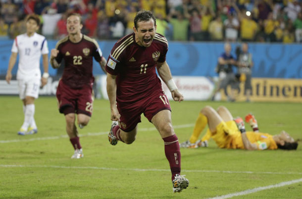 Форвард повторил рекорд Владимира Бесчастных по количеству голов в составе национальной команды © AP Photo/Felipe Dana