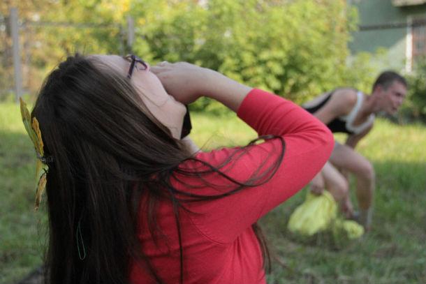 """Ольга Никитина никогда прежде не видела, как """"звезда"""" превращается в единоборца. Посмеялись от души вместе с кроссером Фото Анны Неволиной"""