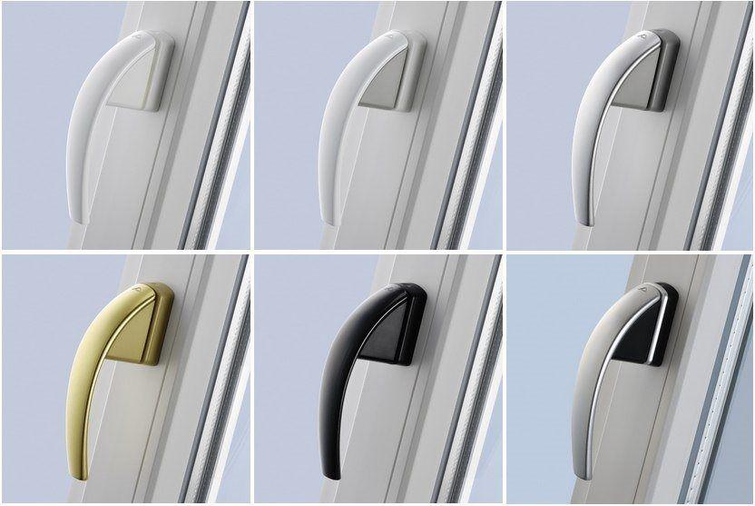 Чтобы внешний вид окна выглядел эстетичней можно поменять свою ручку — на ручки премиум класса ROTO SWING, они бывают разных цветов.